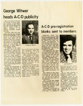 Image of George Witwer heads ACD Publicity and ACD pre-registration blanks sent to members - Jack Randinelli ACD Collection
