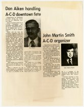 Image of Don Aiken Handling ACD Downtown Fete and John Martin Smith A-C-D organizer - Jack Randinelli ACD Collection
