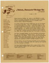 Image of Auburn Automotive Heritage letter soliciting funds to purchase the ACD Museum building with supportive documents - Jack Randinelli ACD Collection