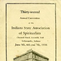 Image of 1936 Annual Convention of the Indiana State Association of Spiritualists, Indianapolis, Indiana - John Martin Smith Miscellaneous Collection