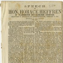 Image of 1861 Speech by Honorable Horace Heffren of Washington & Harrison Counties, Indiana - John Martin Smith Miscellaneous Collection
