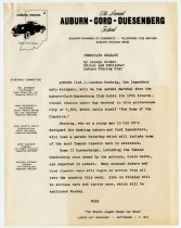 Image of News release for 17th annual Auburn-Cord-Duesenberg Club reunion, festival and auction in September 1972 - Jack Randinelli ACD Collection