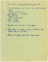 Image of These are notes written during the October 3, 1985 meeting of Negotiating Committee of the Auburn-Cord-Duesenberg Festival - Jack Randinelli ACD Collection
