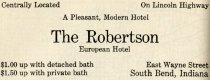 Image of 1916 Scarborough's Official Tour Book Advertisement for The Robertson, European Hotel, South Bend, Indiana - John Martin Smith Miscellaneous Collection