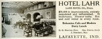 Image of 1916 Scarborough's Official Tour Book Advertisement for Hotel Lahr, Lafayette, Indiana - John Martin Smith Miscellaneous Collection