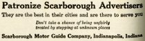 Image of 1916 Scarborough's Official Tour Book Advertisement for Scarborough Motor Guide Company, Indianapolis, Indiana - John Martin Smith Miscellaneous Collection