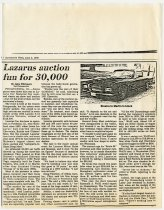 """Image of """"Lazarus auction fun for 30,000"""" Newspaper Article - Jack Randinelli ACD Collection"""