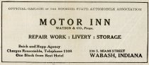 Image of 1916 Scarborough's Official Tour Book Advertisement for the Watson & Company Motor Inn, Wabash, Indiana - John Martin Smith Miscellaneous Collection