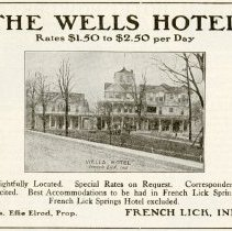 Image of 1916 Scarborough's Official Tour Book Advertisement for The Wells Hotel, French Lick, Indiana - John Martin Smith Miscellaneous Collection