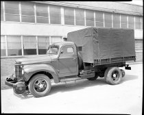 Image of Black and White Images of an International Harvester Truck Converted With an Auto Railer Mechanism. - John Martin Smith DeKalb County Fair Collection