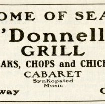 Image of 1916 Scarborough's Official Tour Book Advertisement for O'Donnell's Grill, Gary, Indiana - John Martin Smith Miscellaneous Collection