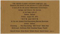 Image of Invitation to gala reception for 4th Annual Midwestern United States Antique and Classic Car Auction - Jack Randinelli ACD Collection