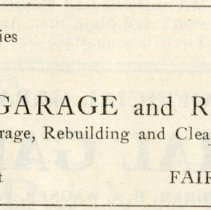 Image of 1912 Hoosier Motor Club Official Road Guide ad for the Hackney Garage and Repair Shop, Fairmount, Indiana - John Martin Smith Miscellaneous Collection