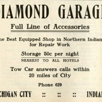Image of 1912 Hoosier Motor Club Official Road Guide ad for the Diamond Garage, Michigan City, Indiana - John Martin Smith Miscellaneous Collection