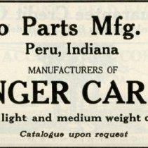 Image of 1920 Advertisement for the Peru Auto Parts Manufacturing Company, Peru, Indiana - John Martin Smith Miscellaneous Collection