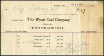 Image of Invoice from Wyatt Coal Company - May 22, 1907 - Charles Eckhart & W. H. McIntosh Collection