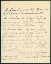 Image of Alicia H. Barnes' letter of application for the position of librarian at the Auburn Public Library - Charles Eckhart & W. H. McIntosh Collection