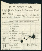 Image of Invoice from E. T. Cochran - April 1908 - Charles Eckhart & W. H. McIntosh Collection