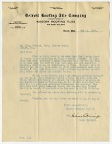 Image of Letter from the Detroit Roofing Tile Company to Charles Eckhart - Charles Eckhart & W. H. McIntosh Collection
