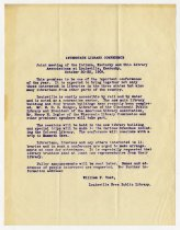 Image of Announcement Regarding the Interstate Library Conference - Charles Eckhart & W. H. McIntosh Collection
