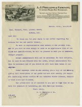 Image of Letter from A.J. Phillips and Company to Charles Eckhart - Charles Eckhart & W. H. McIntosh Collection