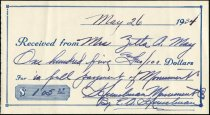 Image of Husselman Monument Receipt of Payment-in-full from Mrs. Zetta A. May. -