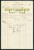 Image of E. T. Cochran invoice for purchase made by Auburn Public Library - Charles Eckhart & W. H. McIntosh Collection