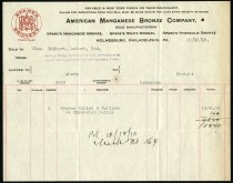 Image of American Manganese Bronze Company Order Form - Charles Eckhart & W. H. McIntosh Collection