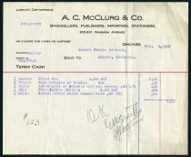 Image of 1909 Purchase Invoice for Eckhart Public Librayr - Charles Eckhart & W. H. McIntosh Collection