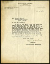 Image of Letter from the Public Library Commission of Indiana to Virginia Emanuel - Charles Eckhart & W. H. McIntosh Collection