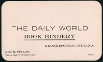 Image of The Daily World Book Bindery Business Card - Charles Eckhart & W. H. McIntosh Collection