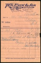 Image of Receipt from Ten Eyck and Son - Charles Eckhart & W. H. McIntosh Collection