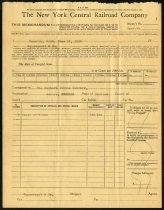 Image of Memorandum from the New York Central Railroad Company - Charles Eckhart & W. H. McIntosh Collection