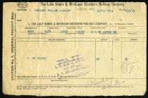 Image of Freight Bill from the Lake Shore and Michigan Southern Railway Company for Eckhart Public Library - Charles Eckhart & W. H. McIntosh Collection