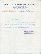 Image of Letter from R.W. Wallace of the Wallace Machine and Foundry Co. to Charles Eckhart - Charles Eckhart & W. H. McIntosh Collection