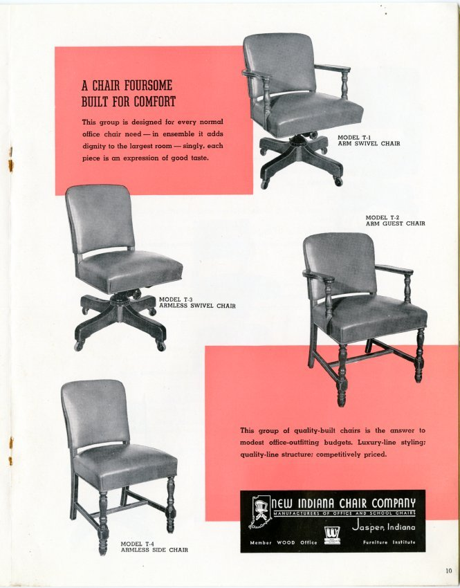 New Indiana Chair Company Catalog And Price List For Office And