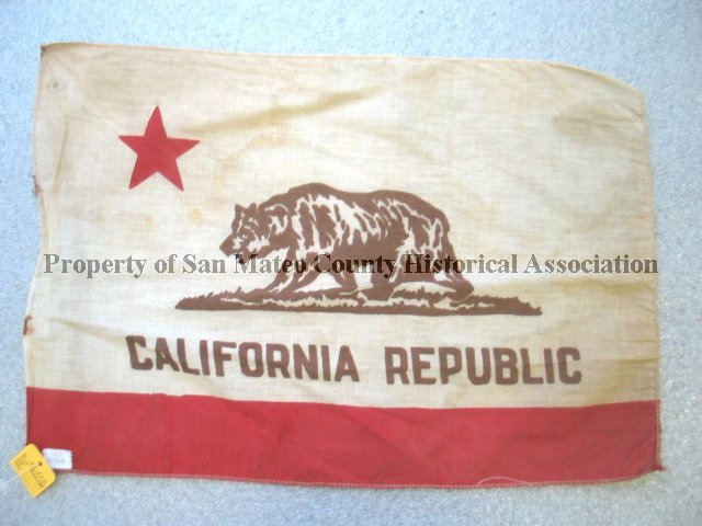 b4e6406a 1972.051.001 - California Republic Flag, n.d. Aged white, black, and ...