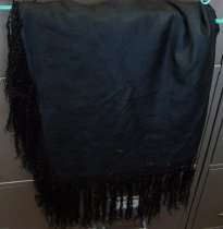Image of Black Silk Shawl with Black Fringe
