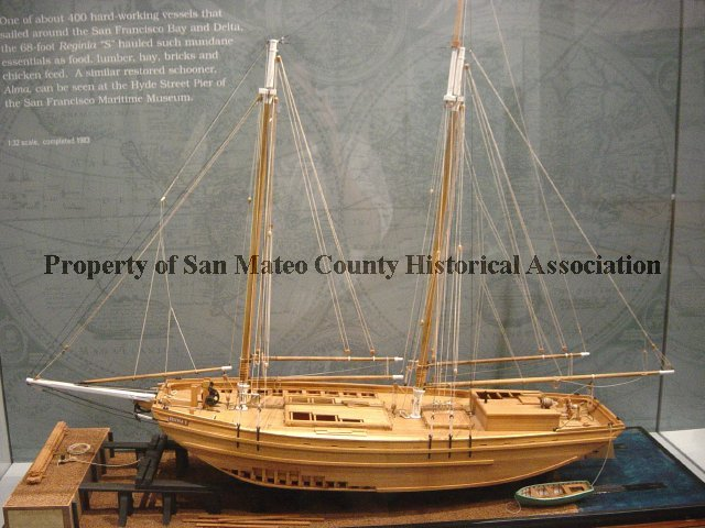 """2000.008.013 - Regina """"S"""" Model Ship by Charles Parsons at 1:32 scale. Wooden ship is a 2 masted ..."""