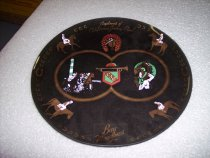 """Image of 2001.158.001 - Bay Meadows Racecourse Collector's Plate, early 1950s.  Bay Meadows Racecourse Collector's Plate Painted glass plate, """"Compliments of California Jockey Club"""""""