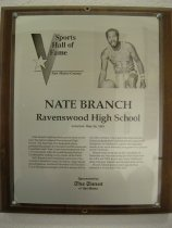 "Image of 2009.030.024 - Plaque commemorating Nate Branch being inducted into the San Mateo County Sports Hall of Fame on May 28, 1991.  Plaque includes image of  Branch and a brief biography:  ""Nate Branch's ball has bounced on many courts since his halcyon days at Ravenswood High School.  The East Palo Alto basketball player parlayed his passion for the sport and Ravenswood basketball coach Tom Crane's encouragement into a 15-year career with the world-famous Harlem Globetrotters, visiting every corner of the Earth.  Still, Branch's most treasured memories of his extensive basketball career are about a high school playoff game at Stanford University's old Pavilion.  It was his baseline jumper with five seconds left in the fifth overtime which gave Ravenswood the Peninsula Basketball Tournament title against St. Elizabeth of Oakland in a game that arguably stands as the most dramatic prep game ever played on the Peninsula.  Branch went on to star at the University of Nebraska and then eschewed pro bids from both the ABA and NBA to join his former childhood idols, Marques Haynes and Meadowlark Lemon.  Branch retired several years ago and has returned to live in East Palo Alto."""