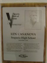 """Image of 2009.030.035 - Plaque commemorating Len Casanova being inducted into the San Mateo County Sports Hall of Fame on May 19, 1992.  Plaque includes image of  Casanova and a brief biography:  """"Len Casanova got his coaching start at Sequoia High School in Redwood City where he led the Sequoia Cherokees to the Peninsula League football title in 1935.  He later coached the Santa Clara University football team to victory in the 1949 Sugar Bowl.  At the University of Oregon, his 1957 football team won the Rose Bowl.  His Oregon teams also appeared in the 1960 Liberty Bowl and the 1963 Sun Bowl.  His collegiate coaching career spanned 21 seasons and included assignments in three East-West Shrine football games, two Hula Bowl contests and an All-American game.  At Oregon, the Casanova Athletic Center has been named in his honor."""""""