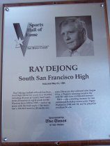 Image of Ray DeJong Sports Hall of Fame Plaque