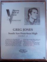 Image of Greg Jones Sports Hall of Fame Plaque