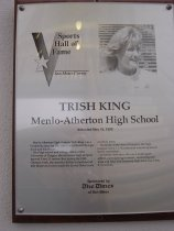 "Image of 2009.030.101 - Plaque commemorating Trish King of Menlo-Atherton High School being inducted into the San Mateo County Sports Hall of Fame on May 18, 1993.  Plaque includes image of King and a brief biography:  ""Menlo-Atherton High alumna Trish King was a Cinderella story for the 1988 United States Olympic track and field team.  /  As a high scool and college athlete at the Univeristy of Oregon, she had never high-jumped beyond 5 feet, 11 inches.  But, during the 1988 Olympic trials, she soared a full six inches beyond that height and easily mad the United States track and field team.  /  However, at the Seoul Olympics, she high-jumped 6 feet, 3 1/4 inches and wound up out of medal contention.  /  At Menlo-Atherton, she was a multi-sport athlete, participating in soccer, swimming and track and field.  Her best prep high jump was 5 feet, 9 1/4 inches."""