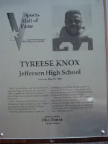 Image of Tyreese Knox Sports Hall of Fame Placque