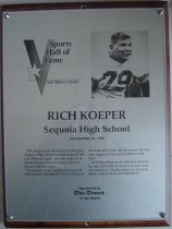 Image of Rich Koeper SMC Sports Hall of Fame Plaque