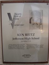 "Image of 2009.030.149 - Plaque commemorating Ken Reitz of Jefferson High School being inducted into the San Mateo County Sports Hall of Fame on May 18, 1993.  Plaque includes image of Reitz and a brief biography:  ""Ken Reitz, a graduate of Jefferson High in Daly City, was the grand master of the ""hot corner"" during his 11-year professional baseball career in the National League.  As a gifted, quick-handed third baseman, he set the league standard for excellence with a .970 career fielding percentage-best ever in the National League.  /  His nickname, the ""Zamboni Machine,"" summed up his consistent brilliance during his 1,321-game tenure with the St. Louis Cardinals, the San Francisco Giants, the Chicago Cubs and the Pittsburgh Pirates."""