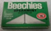 "Image of 2010.090.058 - Beechies Spearmint Gum. c. 1939-1944.  Package of candy-coated gum from WWII C-Ration.  Green box with white and black lettering:  ""Beechies  /  Spearmint  /  with other natural flavor  /  Candy  /  Coated  /  Gum"" on both top and bottom.  Oval logo in red and white with fruit image in center says ""Beech nut  /  Quality.""  Ends of box say ""2 Beechies"" and on one side in black is ""Life Savers, Inc, New York, N.Y. 10019."""