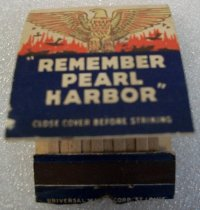 "Image of 2010.090.064 - WWII Era Matchbook. c. 1939-1944.  Unused paper matchbook, red, white and blue in color.  Gold eagle at top.  ""Remember Pearl Harbor"" on one side and ""REMEMBER  /  HOOLIGAN'S  /  SUPER BARS..."" on other."